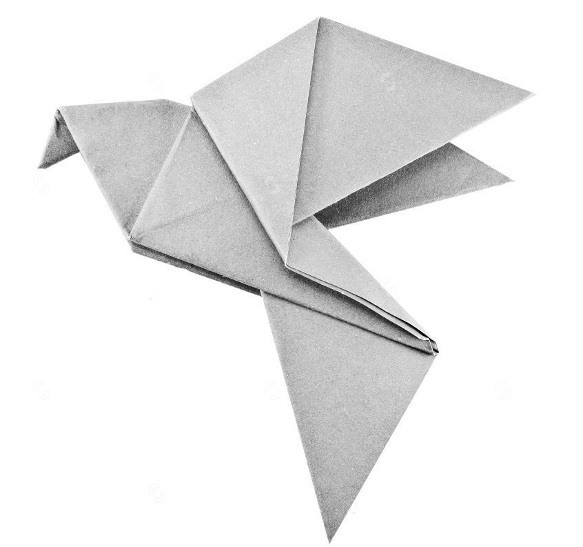 stock-photo-origami-gray-paper-bird-on-white-background-112185836
